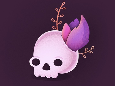 Best Icons of the Month! character pirates grass leaves flower dead noise procreate skull illustration icon