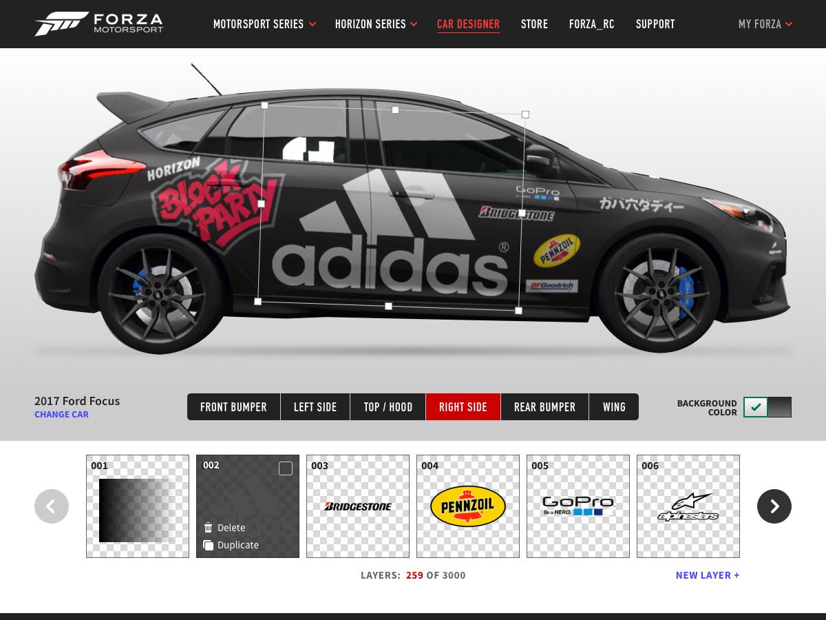 Forza car designer web app idea by Hugh Griffith on Dribbble
