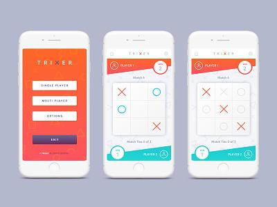 Trixer Game app mobile ui design tic tac toc game