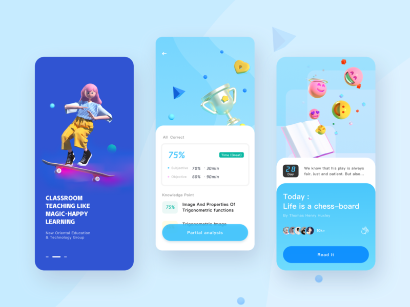 education app design ux character 3d ui