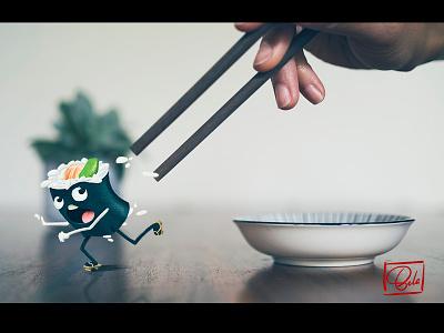 Sushi Run design character run sushi