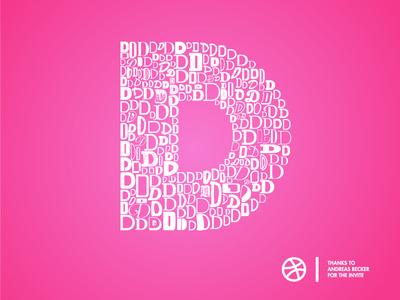 Dribbble Thanks  thank you dribbble d typography hello