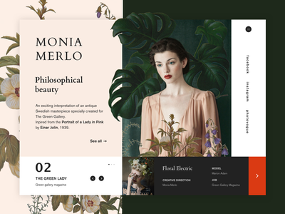 Monia Merlo - Philosophical beauty webdesign ux ui flowery landing design photo art slider page flower