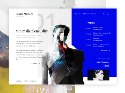 Louise Mertens - Fine art studio webdesign ux ui slider page landing minimalist photo design art
