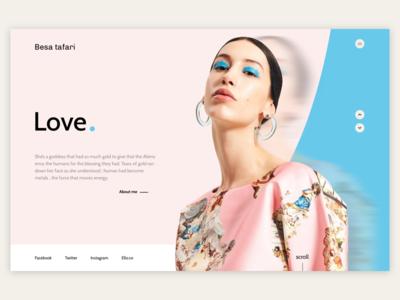 Besa Tafari - Love photography blue pink webdesign ux ui slider photo minimalist landing design art