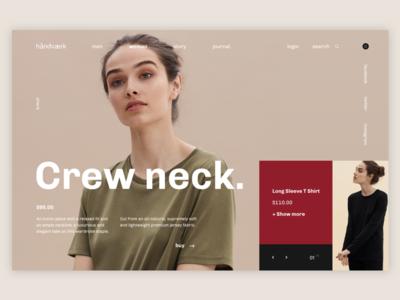 håndværk - Crew neck T-shirt webdesign ux ui slider photo page landing t-shirt shop design art