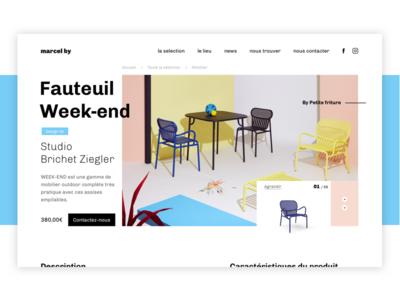 Marcel By - Fauteuil Week-end webdesign ux ui furniture photo page minimalist landing design art