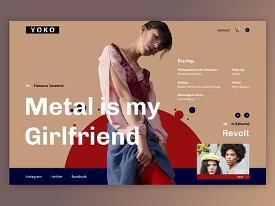 Yoko-mag - Metal is my girlfriend minimalism webdesign ux ui metal slider photo page landing design art