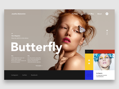 Josefine Bäckström - Butterfly webdesign ux ui slider photo page minimalism mondrianizm landing design art