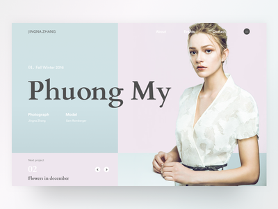Jingna Zhang - Fall Winter Phuong My 2016 webdesign ux ui slider winter photo mondrianizm minimalism landing design