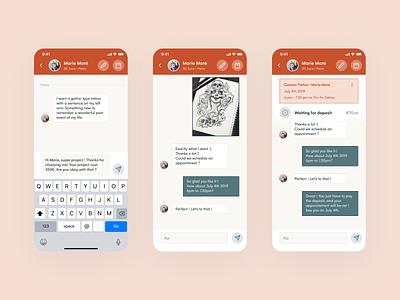 Inkstr Tattoo app - Chat product design products product design ux ui appointment appointments manage concept application app tattoo artist tattoos tattoo