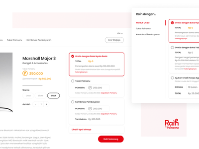 Multiple Options on Redeem Method - Raih Poinseru OCBC NISP loyalty loyalty program loyalty app bank indonesia interface ui ux user interface user experience branding brand identity red desktop website responsive