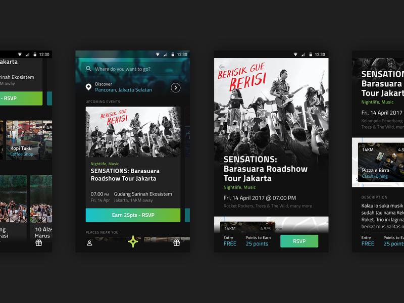 Euforia: Discover circa 2017 mobile android navigation dark ui dark ui design interface ui events event event app