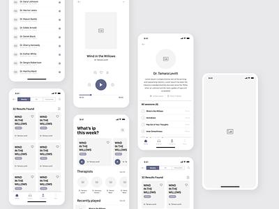Wireframe of Meditation iOS App ux app design mobile design mobile ui 2020 trends clean ui clean ui design sketch ios design app app design ui