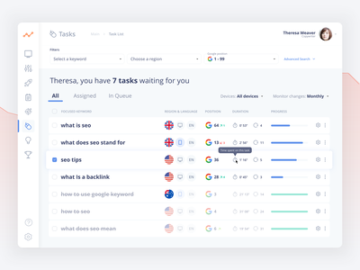 SEOBuddy - Keyword Monitoring 🎯 product design webdesign ux clean ui app sketch clean ui design ui design design app