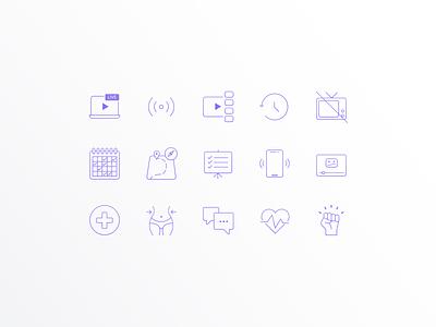 Icon Set - Online Workout Platform ux ui design illustration ui clean ui illustrator iconography icon design icon set icon design