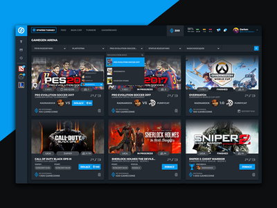 Tournament Arena ux website design