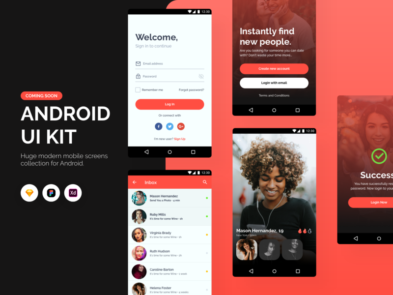 Android UI Kit template adobexd sketch figma userexperience design system product design android app clean ui design clean ui mobile design app ux ui design