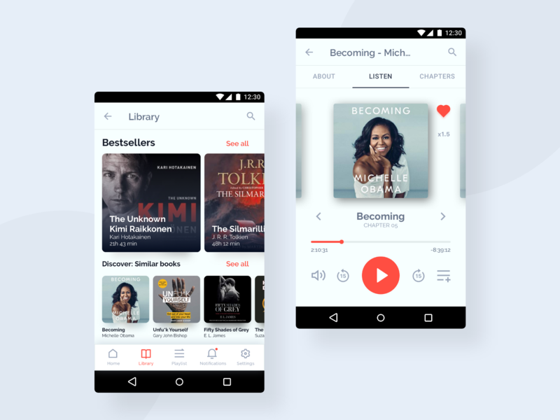Android UI Kit - 📔 Audiobook Library product design figma app clean ui design 2019 trend design sketch clean ui ux design app ui