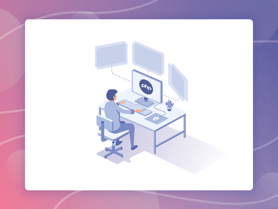 Learn PHP coding java ux ui graphicdesign isometric illustration website code php