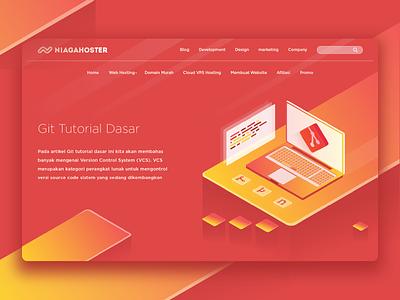 Git Tutorial Dasar tutorial isometric illustration blog homepage hosting website webhosting git