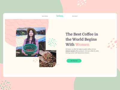 Coffee from Women typography site product branding modern clean pastel woman women coffee interface web ux ui
