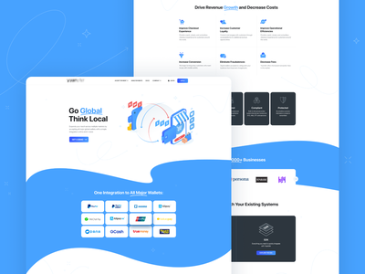 Payment Platform for Chinese Currency card exchange currency chinese payment wallet waves modern clean blue illustration landing interface web design ux ui