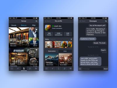 Sensar iphone message profile blue gray interface ui application ios mobile app