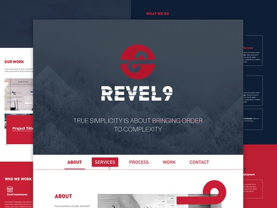 Revel9 background minimal logo design ux ui grey red home web graphics website