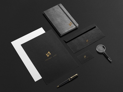 Trendy List Branding business card corporate identity black gold note envelope branding logo