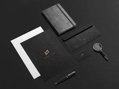 Trendy List Branding business card corporate identity black gold note envelope branding logo