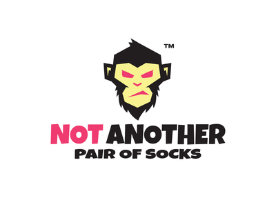 Not Another Pair of Socks logotype yellow pink monkey character logo
