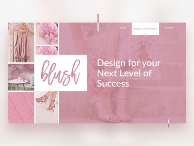 Blush feminine website design web responsive homepage pure clean ux ui website pink page landing