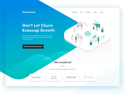 StatusQuota header landing page homepage hero isometric blue gradient illustration interface web design ux ui