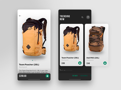 E-commerce App Concept app e-commerce bags black green checkout card mobile iphone product apps interface design ux ui