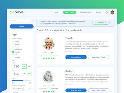 Helper Healthcare Website Project - Part 2 check search filter blue green website site platform healthcare clean icon typography product photoshop logo interface web design ux ui