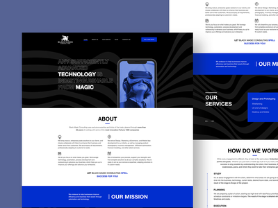 Black Magic landing page black blue dark wave typography branding interface web design ux ui