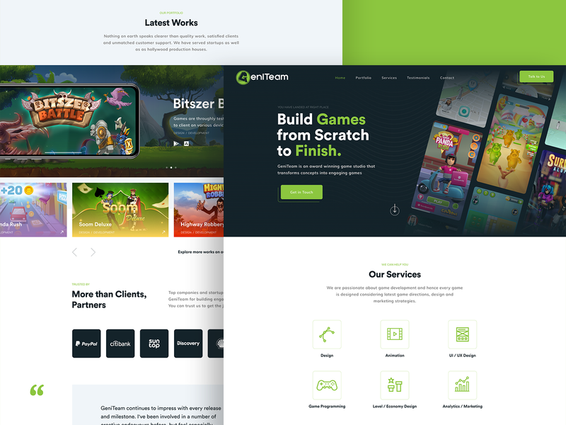 GeniTeam icons cards black green cta gallery development company gaming game site logo branding illustration interface web design ux ui