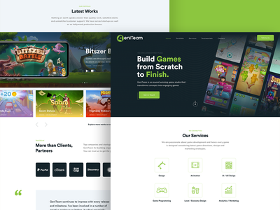 GeniTeam icons cards black green cta gallery development company gaming game site logo branding illustration interface web design ux ui