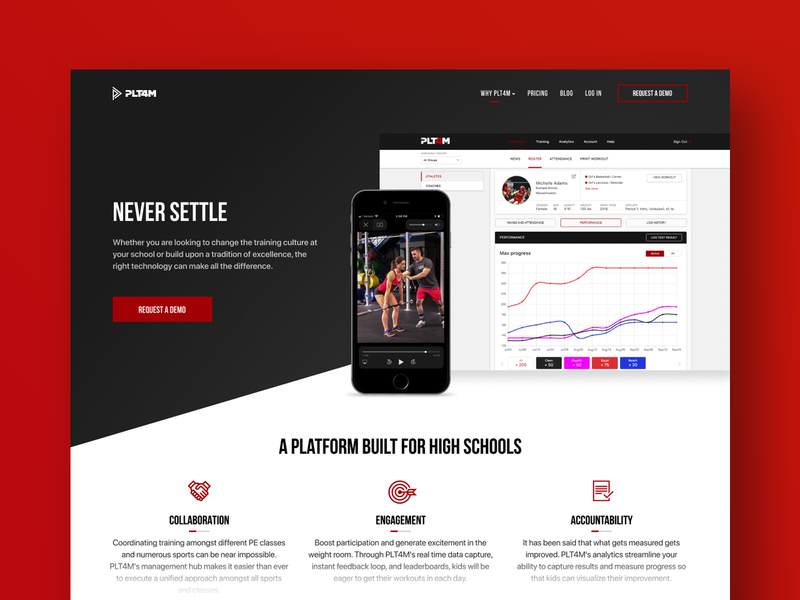 PLT4M workout training gym product design statistics stat dashboard gray red icons typography iphone mobile product site interface web design ux ui
