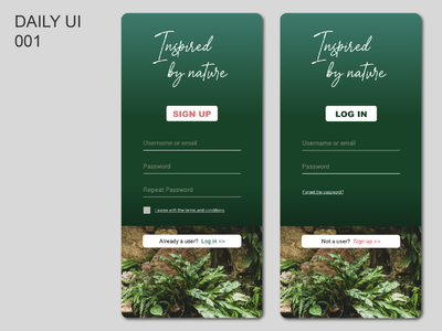 Sign Up page UI design. App for Nature lovers. adobexd adobe xd