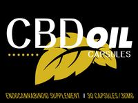 CBD oil capsules label mock up