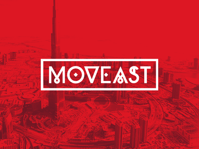 Moveast brand dubai red move east buildings heat white
