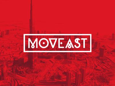 Moveast brand dubai red move east buildings heat white
