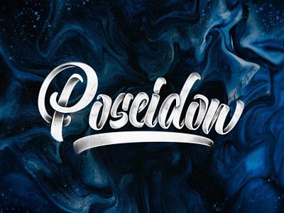 Poseidon concept print handlettering brush art type design typography lettering