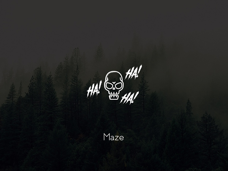 Maze mystic dark evil skull maze fantasy line art line illustration icon