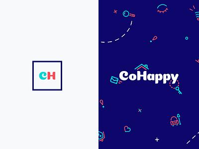 Logofolio   CoHappy flat rent branding shape colors vector iteo cohappy logo