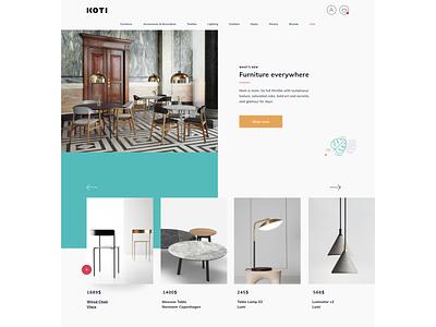 Koti landing page furniture shop simple interaction ux  ui web ui landing page