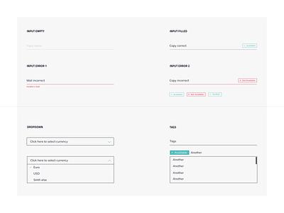 Inputs, inouts, sometimes dropdowns... minimalistic simple ux ui landing page dashboard design system dropdown input