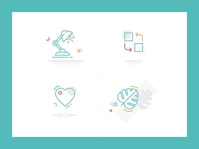 Koti illustrations simple geometric heart lamp leaf vector landing page dashboard icon illustration
